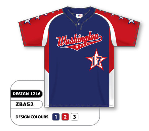 Custom Sublimated One-Button Pro Placket Baseball Jersey Design 1216