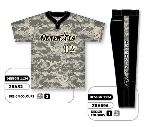 ZBA52S-1134 Custom Sublimated Matching Baseball Uniform Set