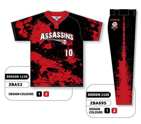ZBA52S-1135 Custom Sublimated Matching Baseball Uniform Set