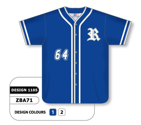 ZBA71-1105 Custom Sublimated Full Button Baseball Jersey