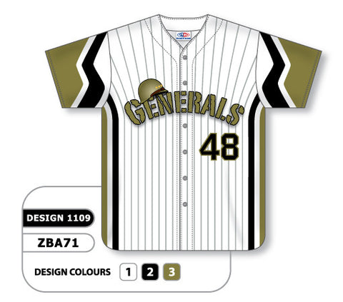 ZBA71-1109 Custom Sublimated Full Button Baseball Jersey