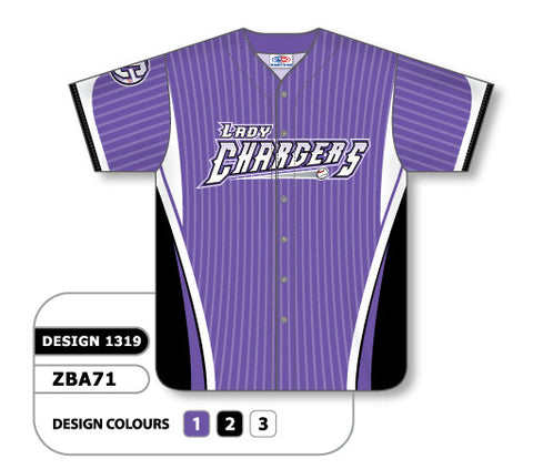 ZBA71-1319 Custom Sublimated Ladies Full Button Short Sleeve Softball Jersey
