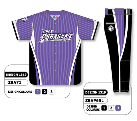 ZBA71S-1319 Custom Sublimated Ladies Full Button Short Sleeve Softball Uniform Set