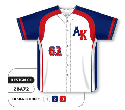 ZBA72-0901 Custom Sublimated Full Button Baseball Jersey