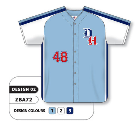 ZBA72-0902 Custom Sublimated Full Button Baseball Jersey