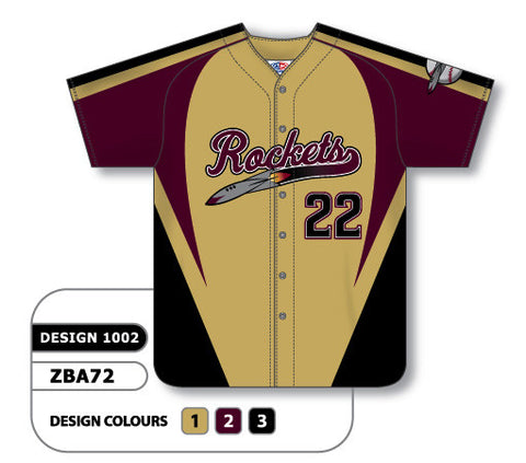 ZBA72-1002 Custom Sublimated Full Button Baseball Jersey