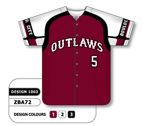 ZBA72-1003 Custom Sublimated Full Button Baseball Jersey