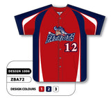 ZBA72-1006 Custom Sublimated Full Button Baseball Jersey