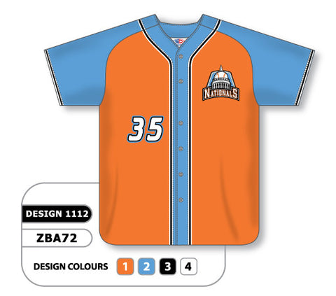 ZBA72-1112 Custom Sublimated Full Button Baseball Jersey