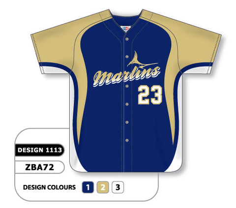 ZBA72-1113 Custom Sublimated Full Button Baseball Jersey