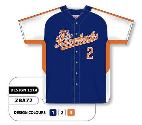 ZBA72-1114 Custom Sublimated Full Button Baseball Jersey