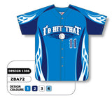 ZBA72-1306 Custom Sublimated Full Button Baseball Jersey