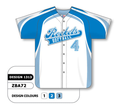 ZBA72-1313 Custom Sublimated Ladies Full Button Short Sleeve Softball Jersey