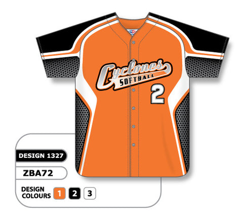 ZBA72-1327 Custom Sublimated Ladies Full Button Short Sleeve Softball Jersey