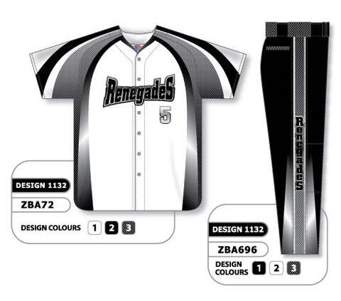 ZBA72S-1132 Custom Sublimated Matching Baseball Uniform Set