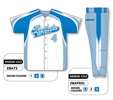 ZBA72S-1313 Custom Sublimated Ladies Full Button Short Sleeve Softball Uniform Set