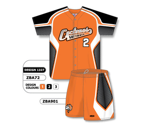 ZBA72S-1327 Custom Sublimated Ladies Full Button Short Sleeve Softball Uniform Set