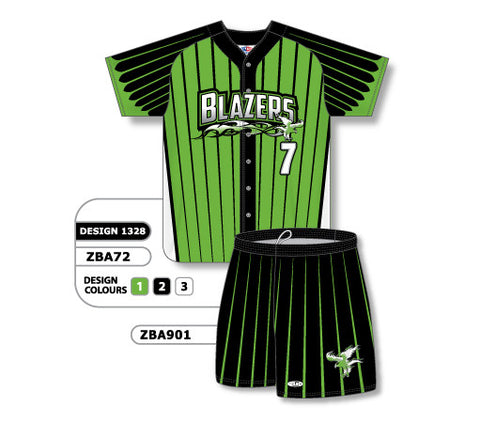 ZBA72S-1328 Custom Sublimated Ladies Full Button Short Sleeve Softball Uniform Set