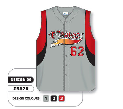 ZBA76-0909 Custom Sublimated Full Button Sleeveless Baseball Jersey