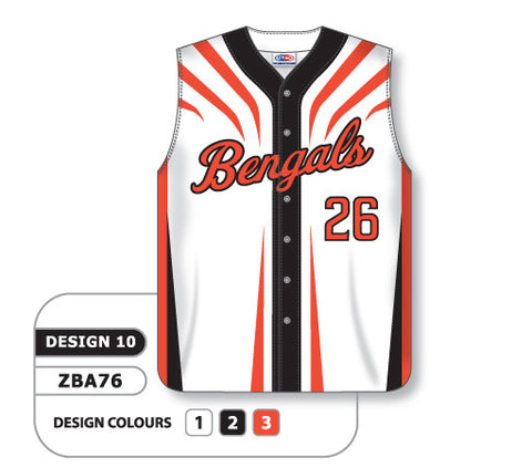 ZBA76-0910 Custom Sublimated Full Button Sleeveless Baseball Jersey