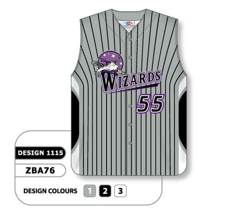 ZSB76-1115 Custom Sublimated Full Button Sleeveless Softball Jersey