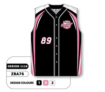 ZBA76-1116 Custom Sublimated Full Button Sleeveless Baseball Jersey