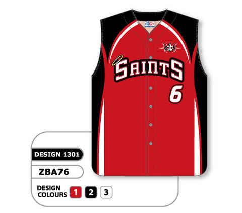ZSB76-1301 Custom Sublimated Full Button Sleeveless Softball Jersey