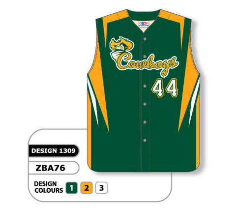 ZBA76-1309 Custom Sublimated Full Button Sleeveless Baseball Jersey