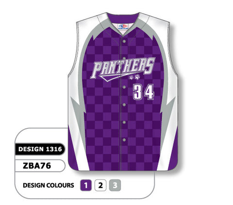 ZBA76-1316 Custom Sublimated Ladies Full Button Sleeveless Softball Jersey