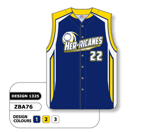ZBA76-1325 Custom Sublimated Ladies Full Button Sleeveless Softball Jersey