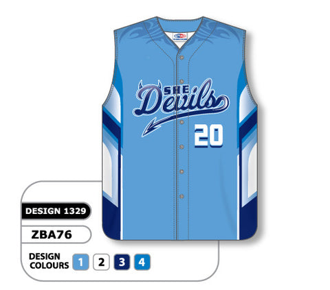 ZBA76-1329 Custom Sublimated Ladies Full Button Sleeveless Softball Jersey