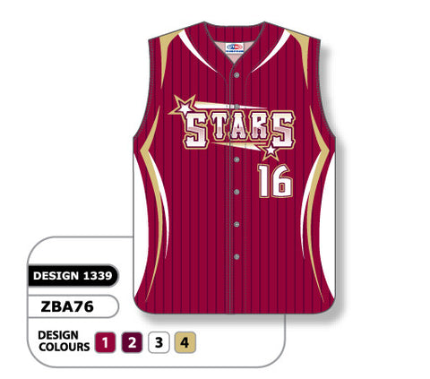 ZBA76-1339 Custom Sublimated Ladies Full Button Sleeveless Softball Jersey
