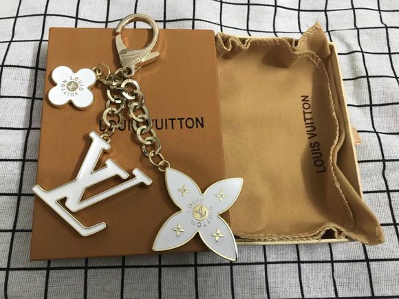 metal Louis Vuitton keychain white landyard for purse LV