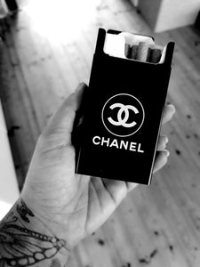 chanel cigarette case, case for weed, black luxury case for men and women case for rolls ups