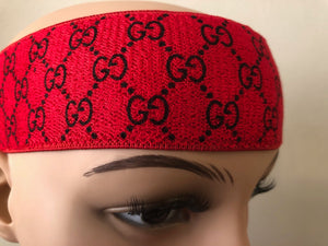 Gucci GG Monogram Headband In Red & Black