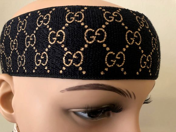 Gucci GG Monogram Headband In Black & Gold
