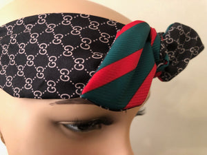 Gucci GG Monogram Headband with Green & Red Bow
