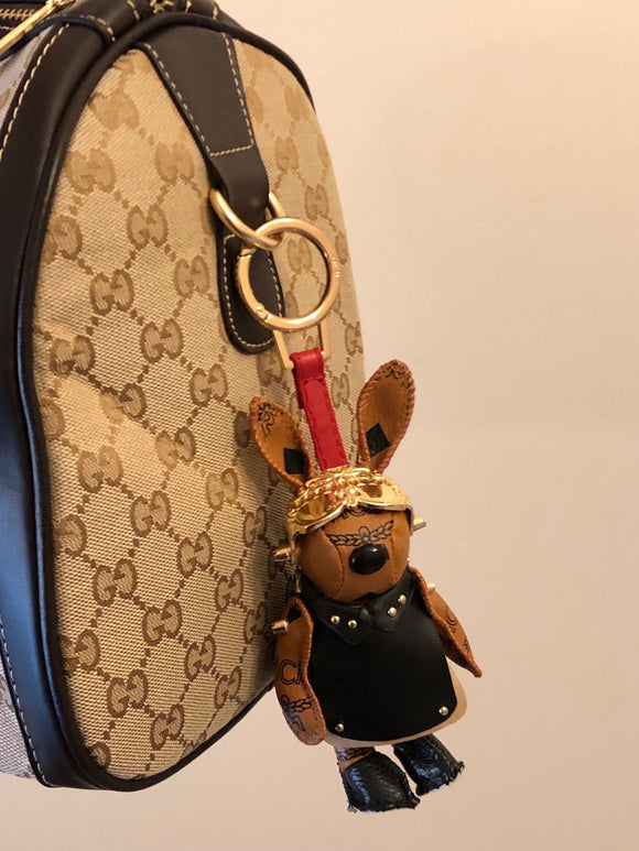 MCM Visetos Rabbit Biker Bag Charm / Keychain