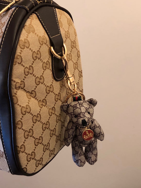 Unique and Stylish Teddy Bear Keychain/Bag Charm features legendary Gucci (GG) Monogram