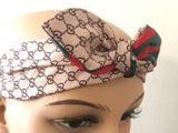 Gucci GG Monogram Beige Headband with Green & Red Bow