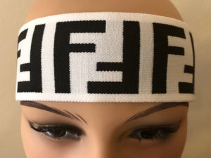 FF Fendi Headband in White & Black