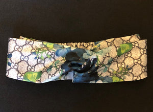 Gucci GG Monogram Blue Bloom Flora Headband