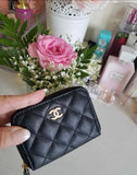 chanel small purse coin wallet in black leather