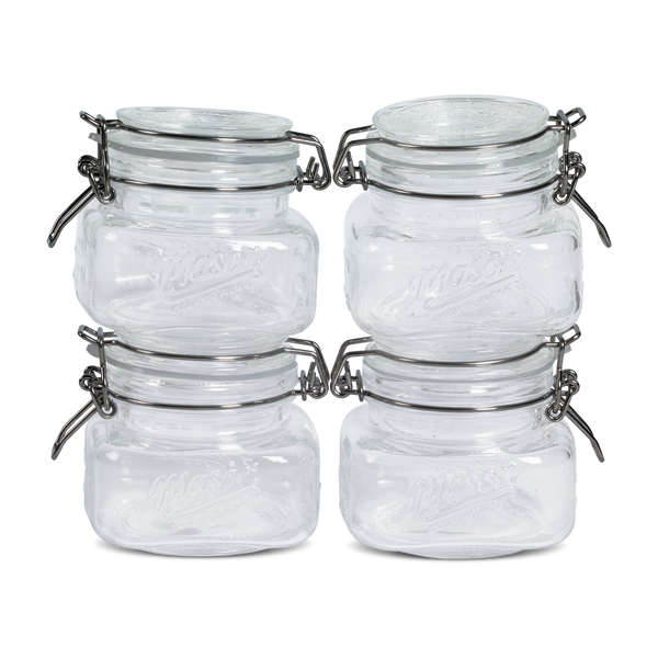 4 pack 10oz Mason Glass Clamp Lid Set
