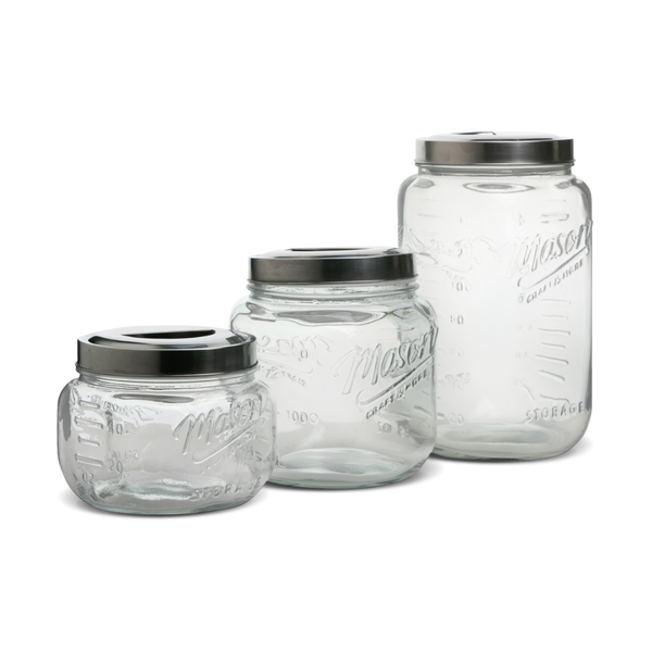 3pc Canister Set w/ Pop Up Metal Lid