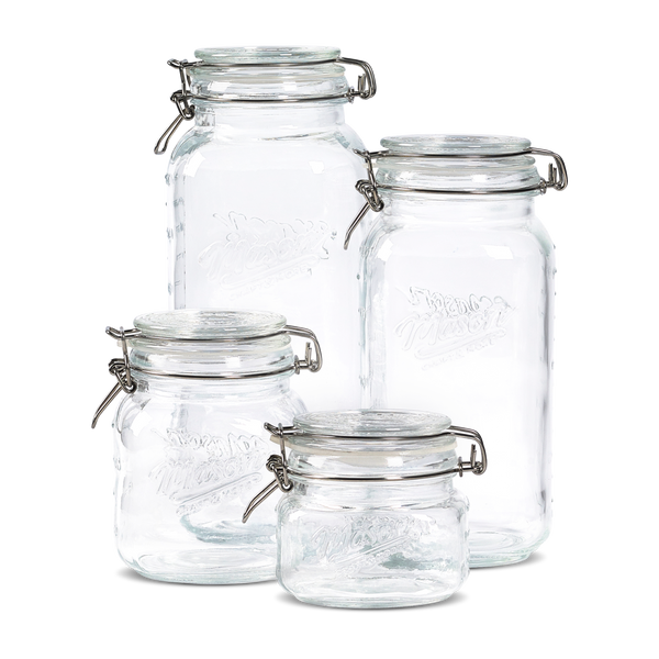 4pc Preserving Jar Set w/ Glass Clamp Lid