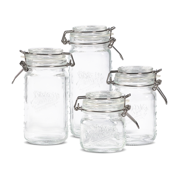 4pc Mini Mason Glass Preserving Jar Set