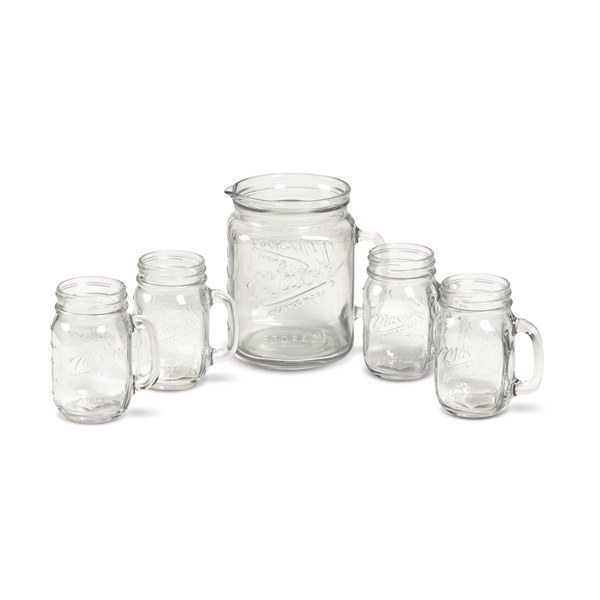 5pc Mason Glass Drinkware Set