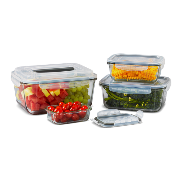 8pc Mason Glass Rectangular Covered Food Storage Set