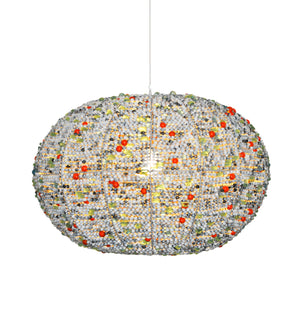 zulu pendant light with wooden & recycled glass beads to match interior design palette